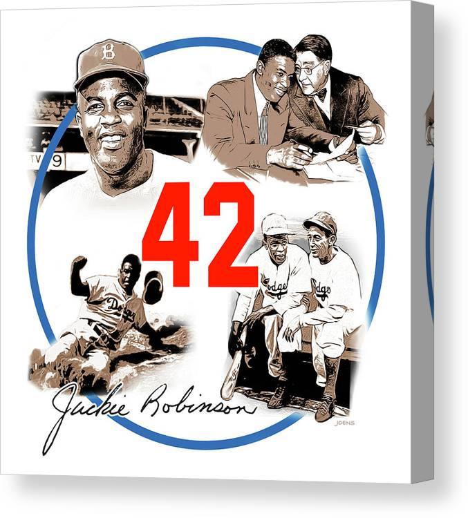 Jackie Robinson Canvas Print featuring the digital art Jackie 42 by Greg Joens