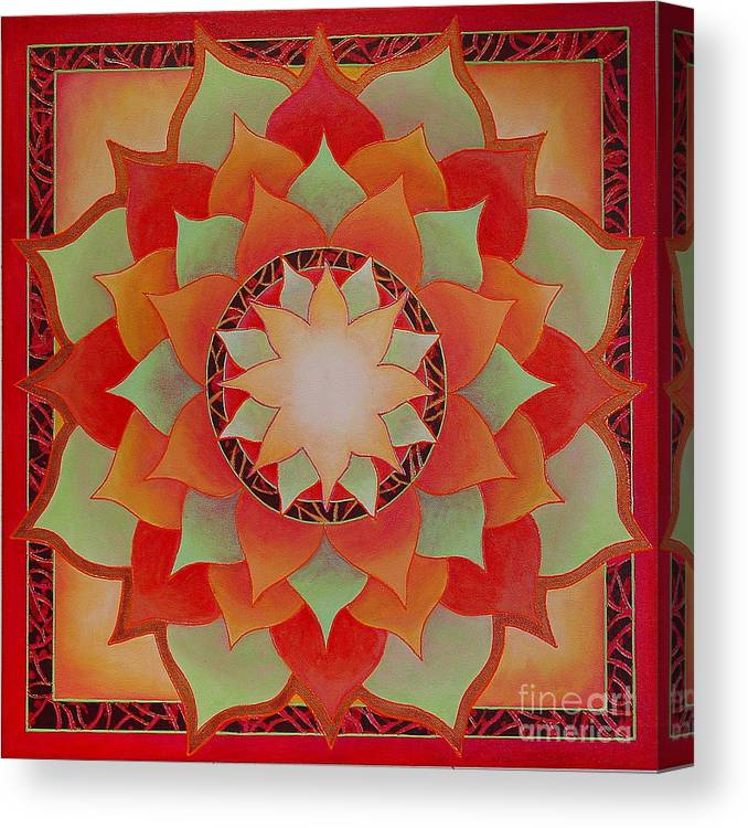 Mandala Canvas Print featuring the painting Juicy Lotus by Charlotte Backman