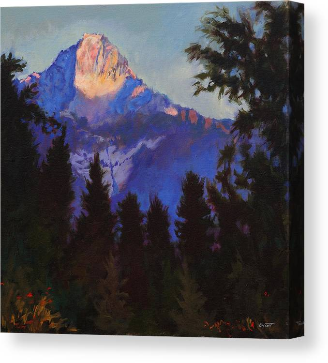 Glacier Canvas Print featuring the painting Last Rays by Robert Bissett