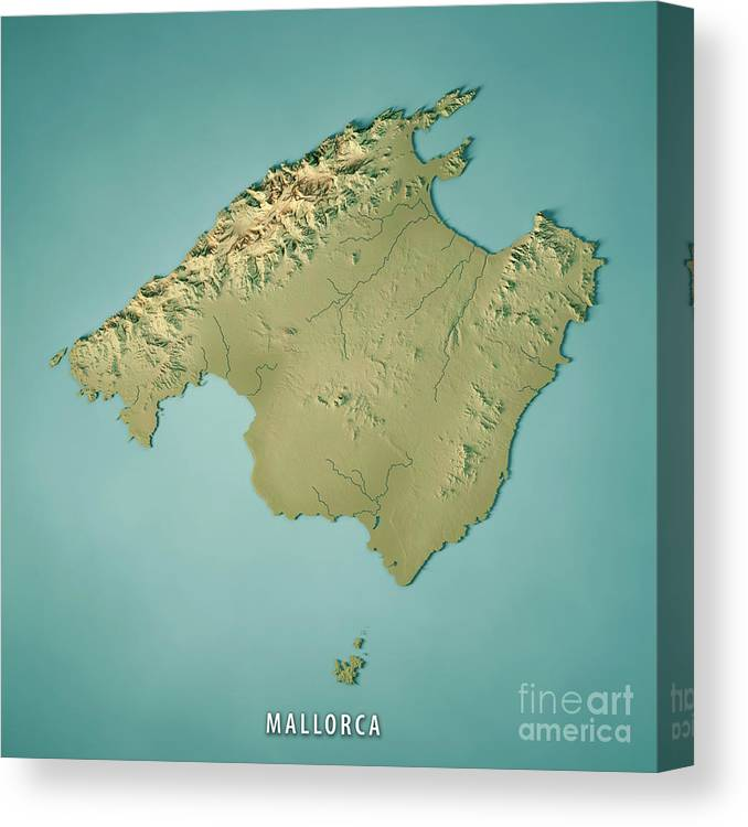 Topographical Map Of Spain.Mallorca Island Spain 3d Render Topographic Map Canvas Print