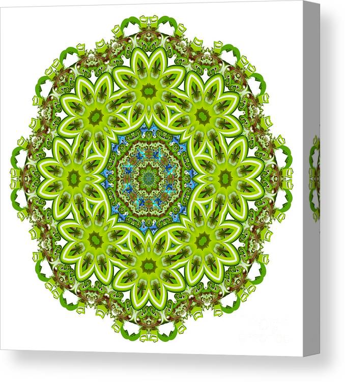 Green Canvas Print featuring the digital art Mandala - Revival-2201-01gb by Variance Collections