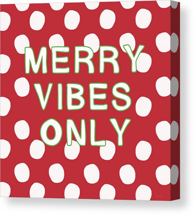 Christmas Canvas Print featuring the digital art Merry Vibes Only Polka Dots- Art By Linda Woods by Linda Woods