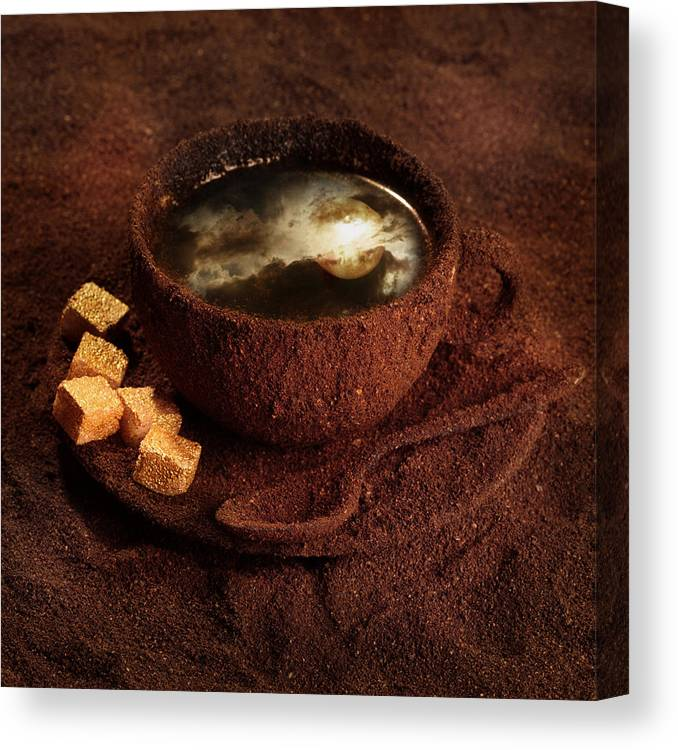 Coffee Canvas Print featuring the photograph Milky Moonlight by Floriana Barbu