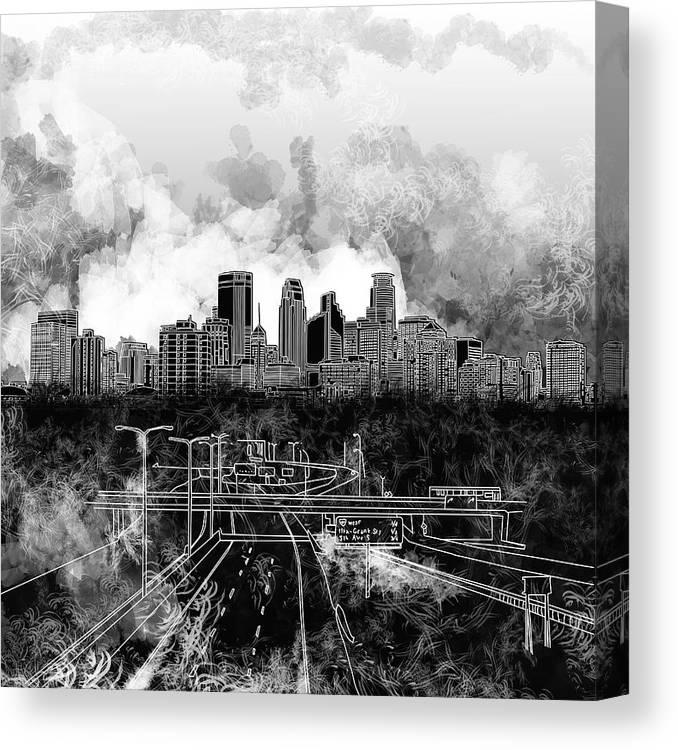 Minneapolis Canvas Print featuring the painting Minneapolis Skyline Abstract 2 by Bekim M