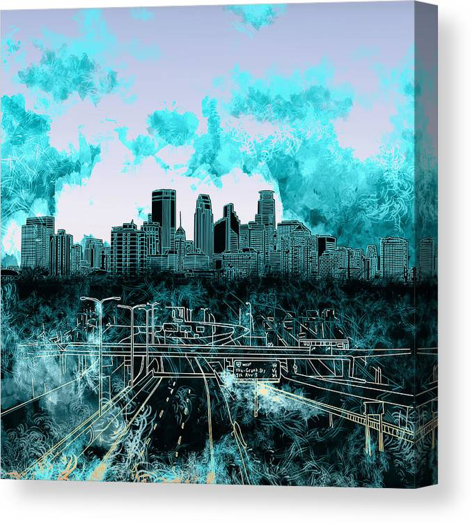 Minneapolis Canvas Print featuring the painting Minneapolis Skyline Abstract 3 by Bekim M