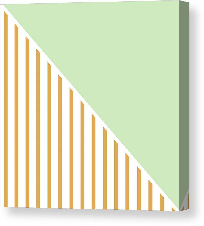 Mint Canvas Print featuring the digital art Mint And Gold Geometric by Linda Woods