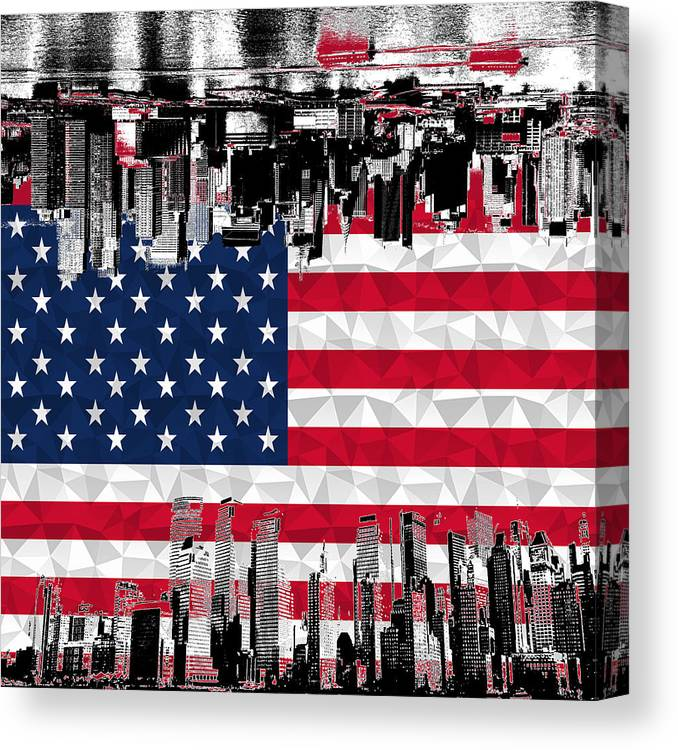American Flag Canvas Print featuring the digital art Modern City Scape American Flag by Ross