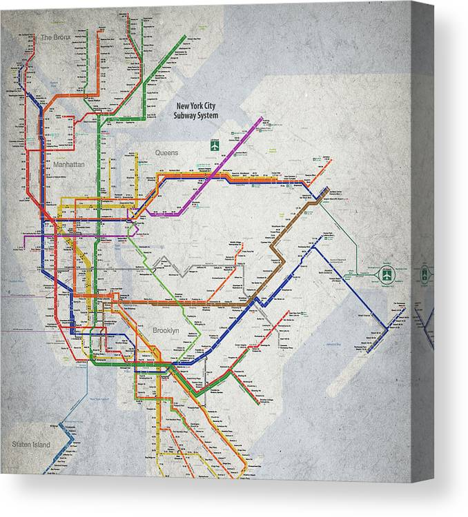 Subway Map For New York City.New York City Subway Map Canvas Print