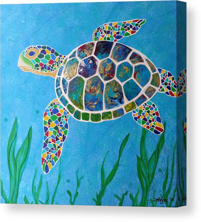 d971de3732a Sea Turtle Canvas Print featuring the painting Peaceful Sea Turtle by  Michelle Vyn