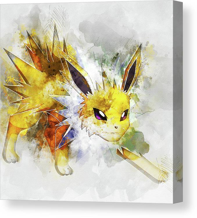 a8ae68cf Pokemon Canvas Print featuring the digital art Pokemon Jolteon Abstract  Portrait - By Diana Van by