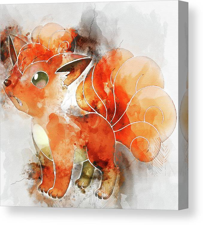 577e6920 Pokemon Canvas Print featuring the painting Pokemon Vulpix Abstract Portrait  - By Diana Van by Diana