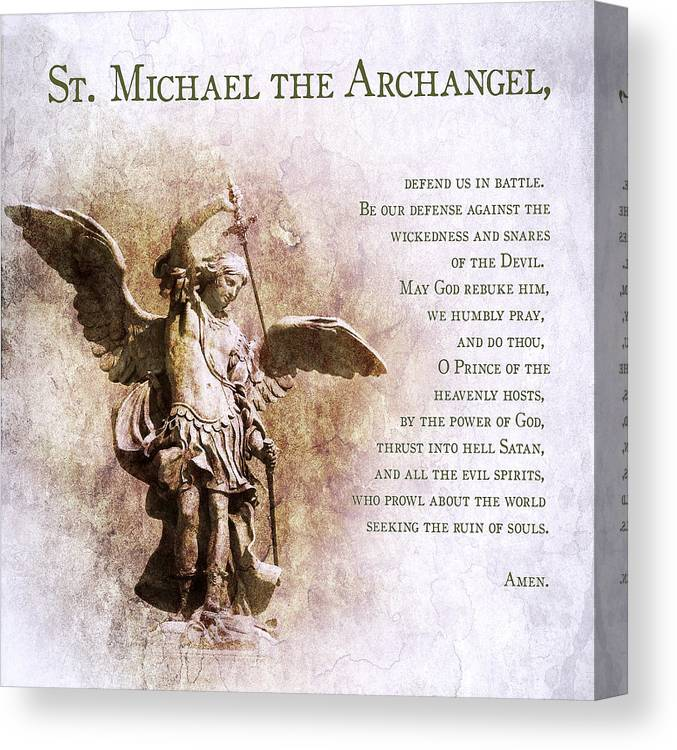 graphic relating to St. Michael the Archangel Prayer Printable referred to as Prayer Towards St. Michael The Archangel Canvas Print
