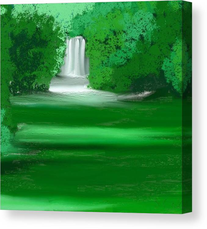Waterfall Canvas Print featuring the painting Punch Bowl Falls by Shelton coker jr