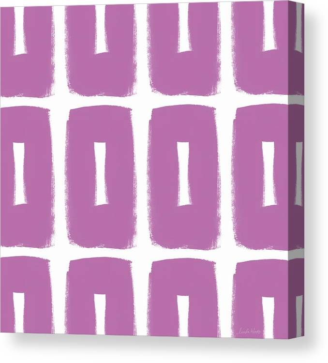 Purple Canvas Print featuring the mixed media Purple Boxes- Art By Linda Woods by Linda Woods