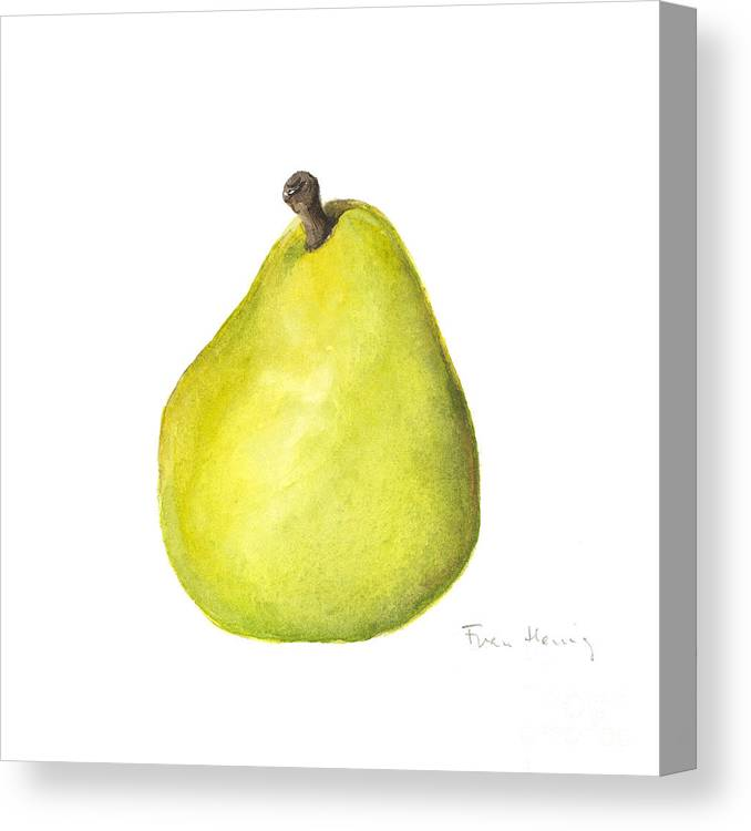 Square Paintings Canvas Print featuring the painting Rachel's Pear by Fran Henig