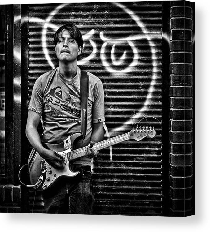 Toronto Canvas Print featuring the photograph Rock & Roll. Street Musician In by Brian Carson