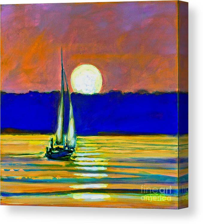 Sailboat Painting Canvas Print featuring the painting Sailboat With Moonlight by Kip Decker