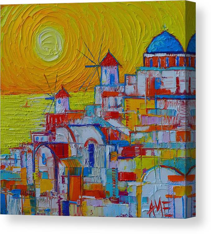 Santorini Oia Sunset Greece Abstract City Modern Impressionist Knife Oil Painting Ana Maria Edulescu Canvas Print