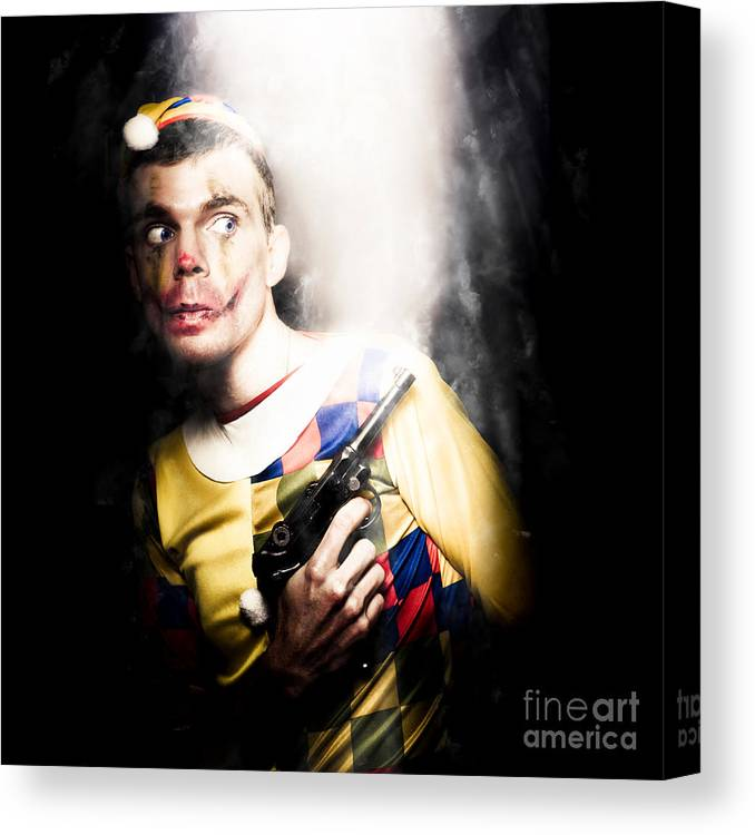 Art Canvas Print featuring the photograph Scary Clown Standing In Shadows With Smoking Gun by Jorgo Photography - Wall Art Gallery