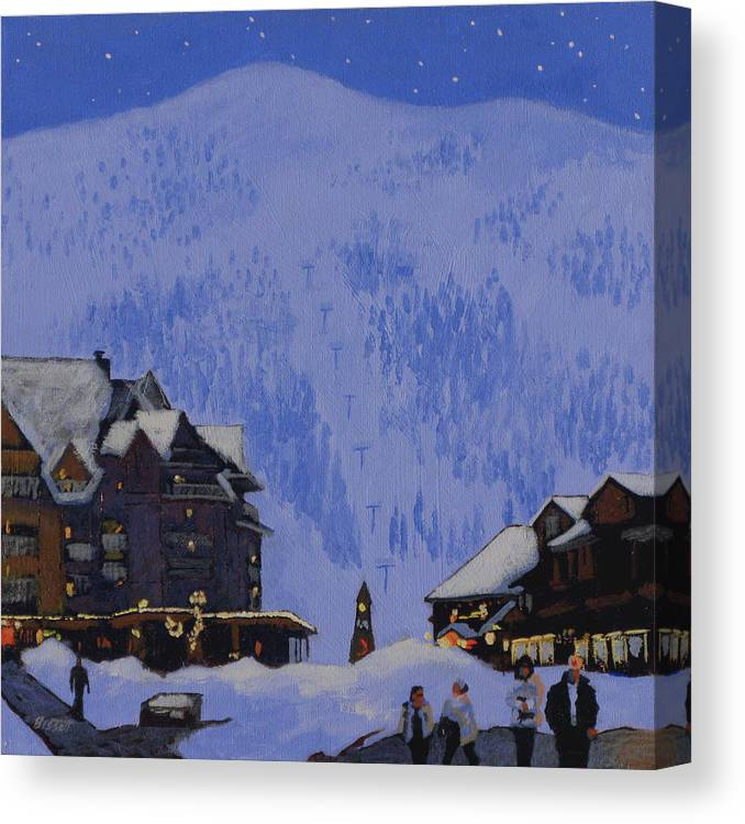 Schweitzer Canvas Print featuring the painting Schweitzer Nights by Robert Bissett