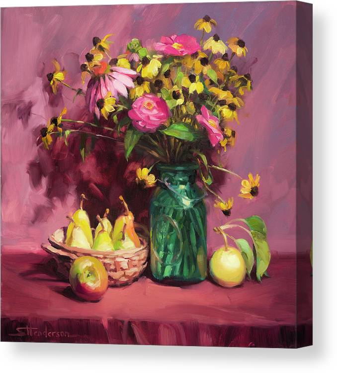 Flowers Canvas Print featuring the painting September by Steve Henderson
