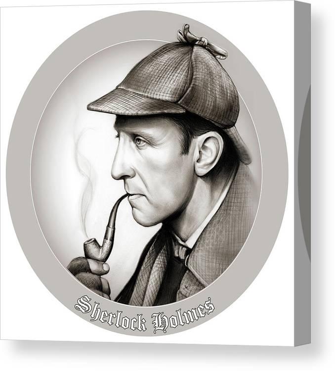 Sherlock Holmes Canvas Print featuring the mixed media Sherlock Holmes by Greg Joens