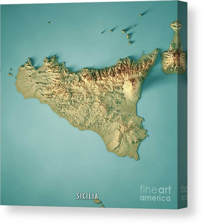 Topographic Map Italy.Sicilia Island Italy 3d Render Topographic Map Canvas Print Canvas