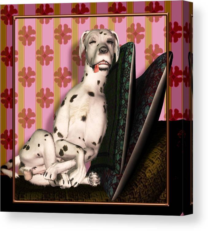 Dalmatian Canvas Print featuring the digital art Sleeping IIi by Nik Helbig