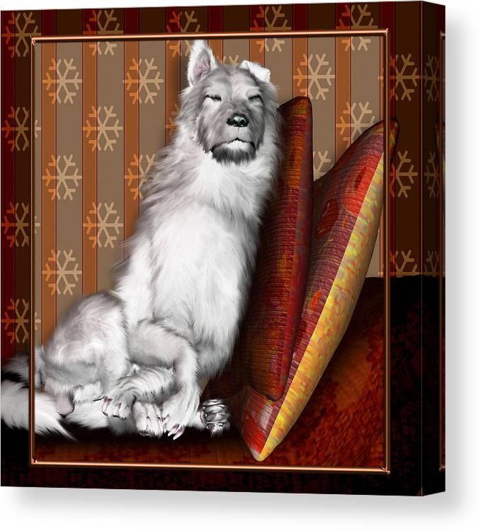 Dog Canvas Print featuring the digital art Sleeping Iv by Nik Helbig