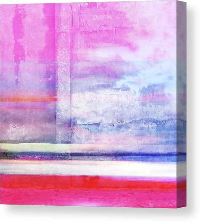 Abstract Desert Art Canvas Print featuring the digital art Sonoran Desert Sunset by Kim Schneider