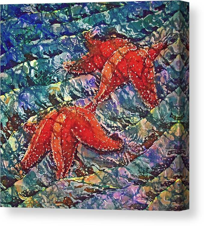 Stars Canvas Print featuring the painting Starfish 2 by Sue Duda