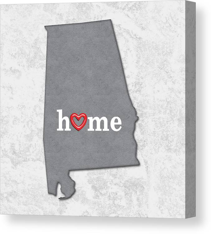 Alabama Canvas Print featuring the painting State Map Outline Alabama With Heart In Home by Elaine Plesser
