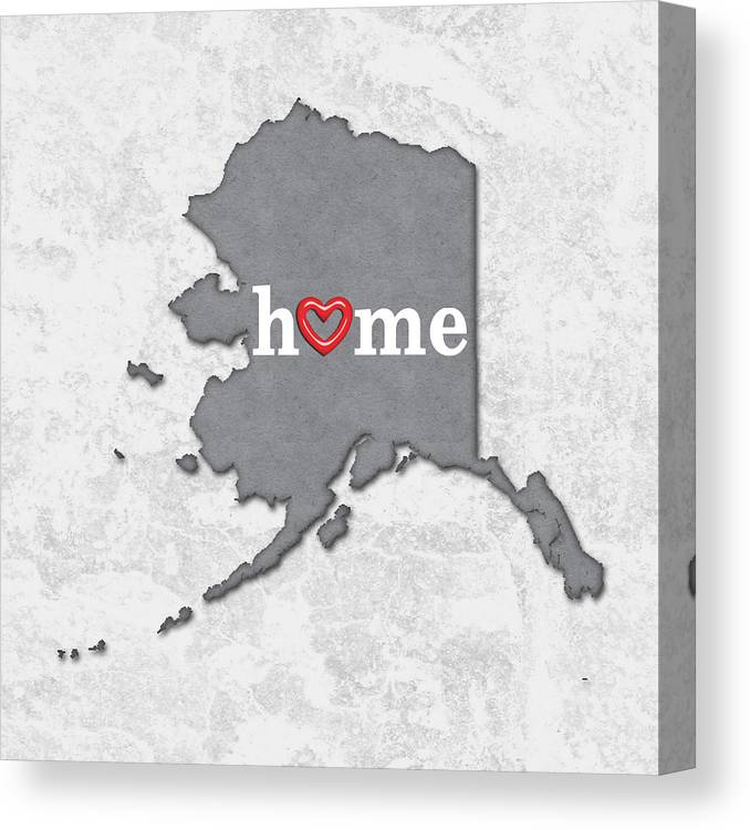 photo about Printable Map of Alaska named Place Map Define Alaska With Center Within House Canvas Print