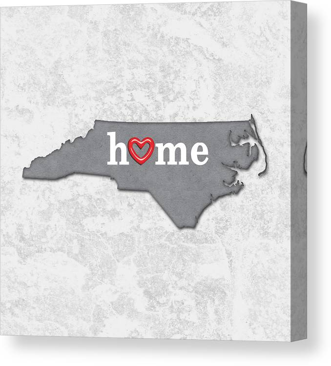 photo regarding Printable Map of North Carolina identified as Place Map Determine North Carolina With Middle Within Dwelling Canvas Print