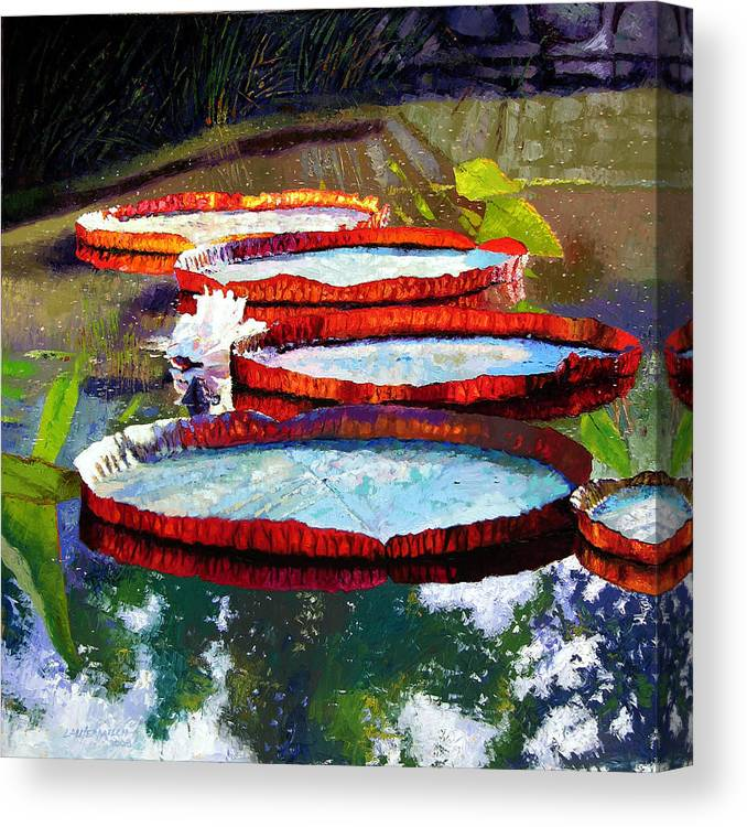 Water Lilies Canvas Print featuring the painting Summer Sunlight On Lily Pads by John Lautermilch