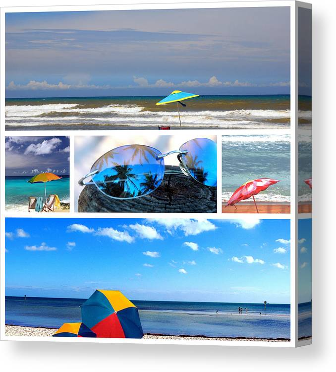 Beache Scene Canvas Print featuring the photograph Sunglasses Needed In Paradise by Susanne Van Hulst