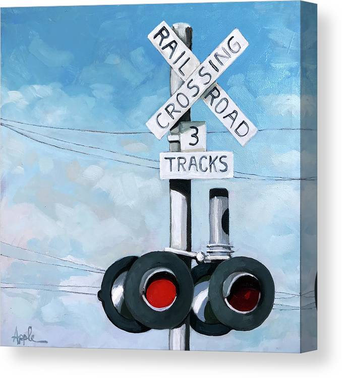 Train Art Canvas Print featuring the painting The Crossing - Train Signals by Linda Apple