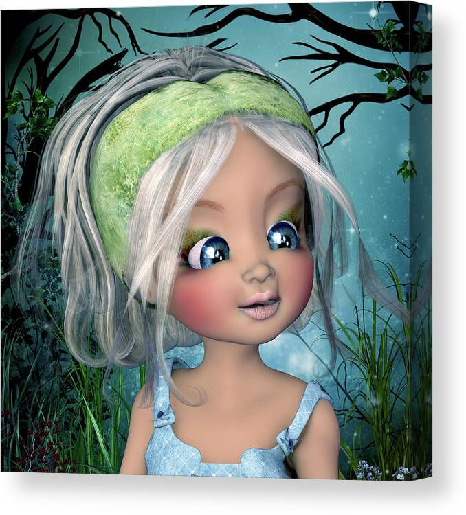 The Face Of Nicole Canvas Print featuring the digital art The Face Of Nicole by John Junek