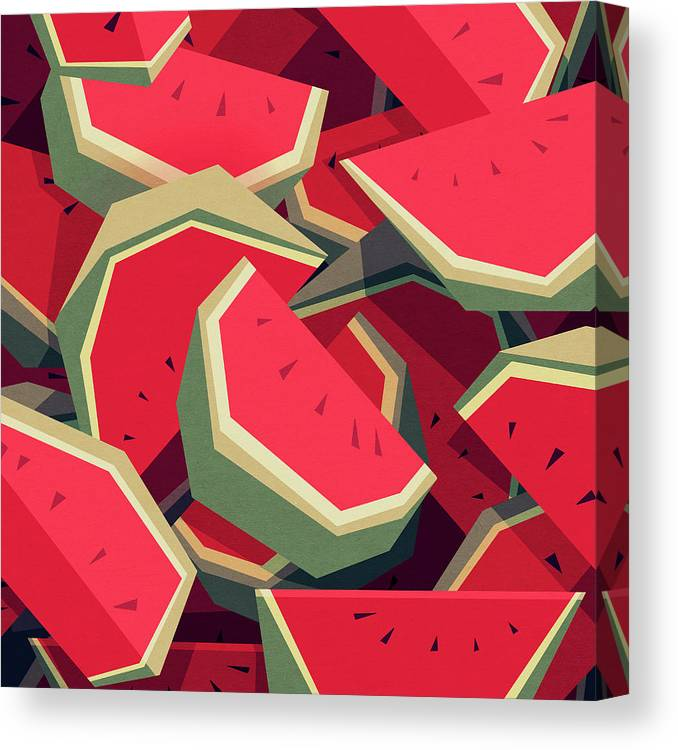 Watermelon Canvas Print featuring the digital art Too Many Watermelons by Yetiland