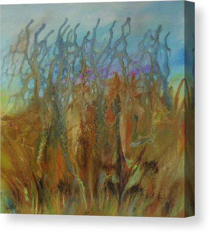 Contemporary Sea Canvas Print featuring the painting Tresors Des Mers by Annie Rioux