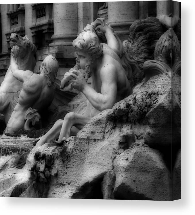 Trevi Fountain Canvas Print featuring the photograph Trevi Fountain Detail 2 by Andrew Fare
