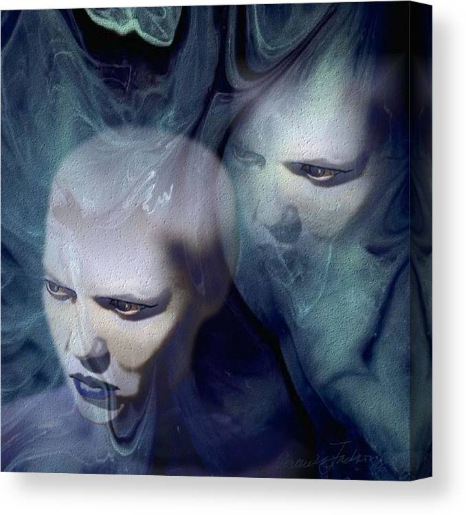 Dream Afterlife Experience Blue Smoke Canvas Print featuring the digital art Untitled by Veronica Jackson