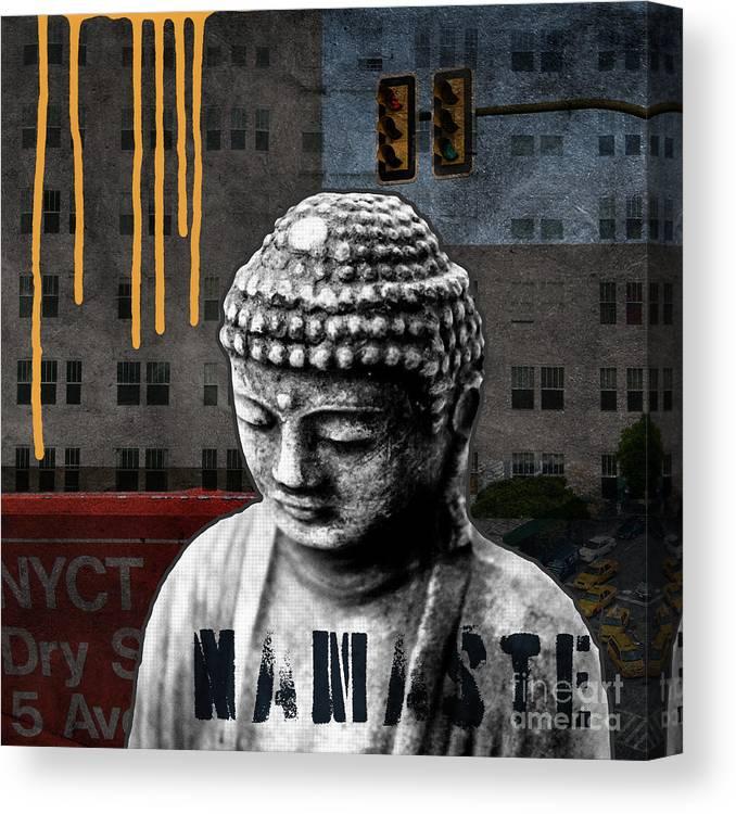 Buddha Canvas Print featuring the mixed media Urban Buddha by Linda Woods