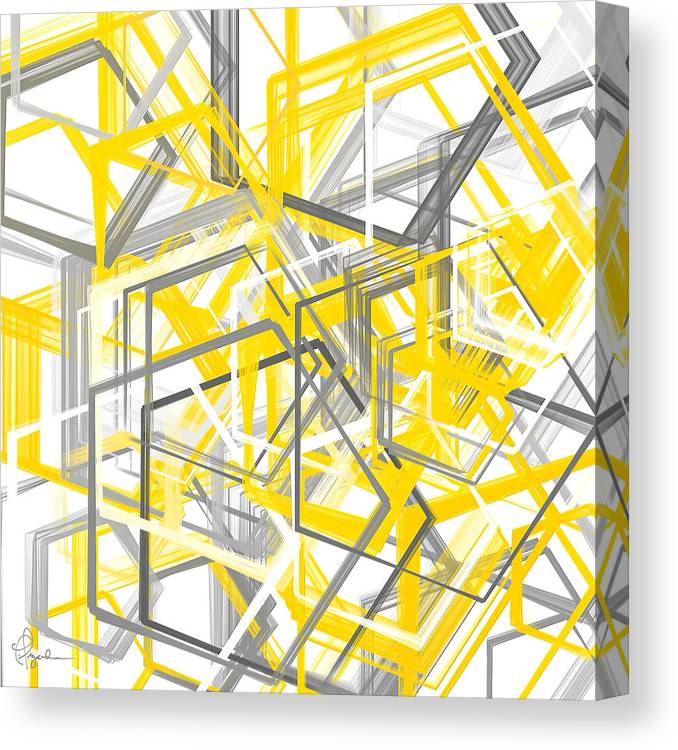 c8a28e7fbf6 Yellow Canvas Print featuring the painting Yellow And Gray Geometric Shapes  Art by Lourry Legarde