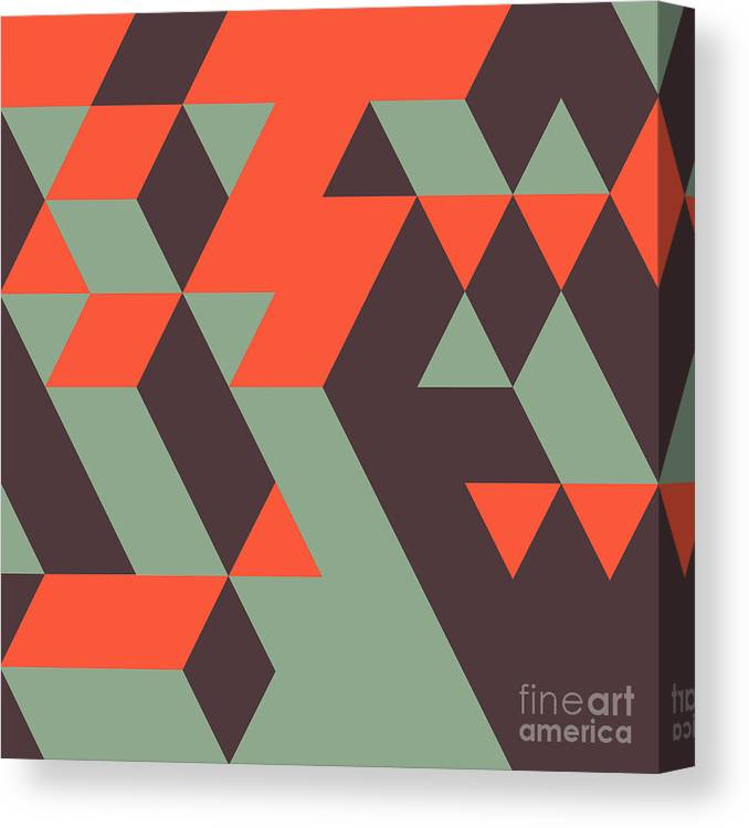Template Canvas Print featuring the digital art Abstract Geometrical 3d Background. Can by Login