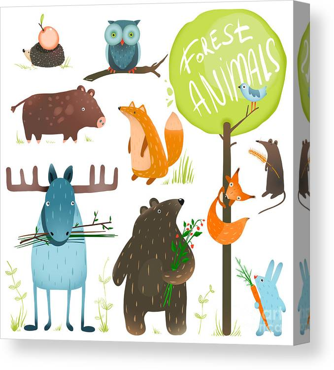 Deer Canvas Print featuring the digital art Cartoon Forest Animals Set. Brightly by Popmarleo