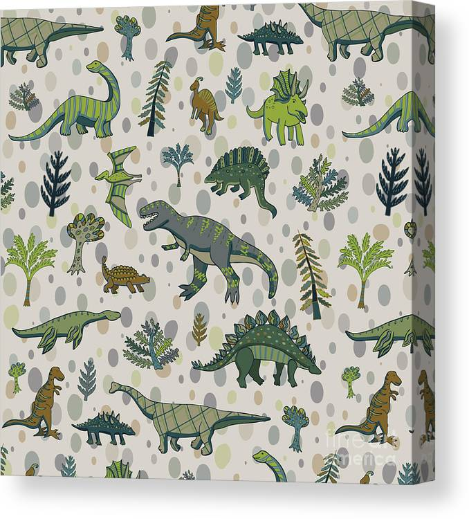 Pets Canvas Print featuring the digital art Dinosaur Pattern by Goosefrol