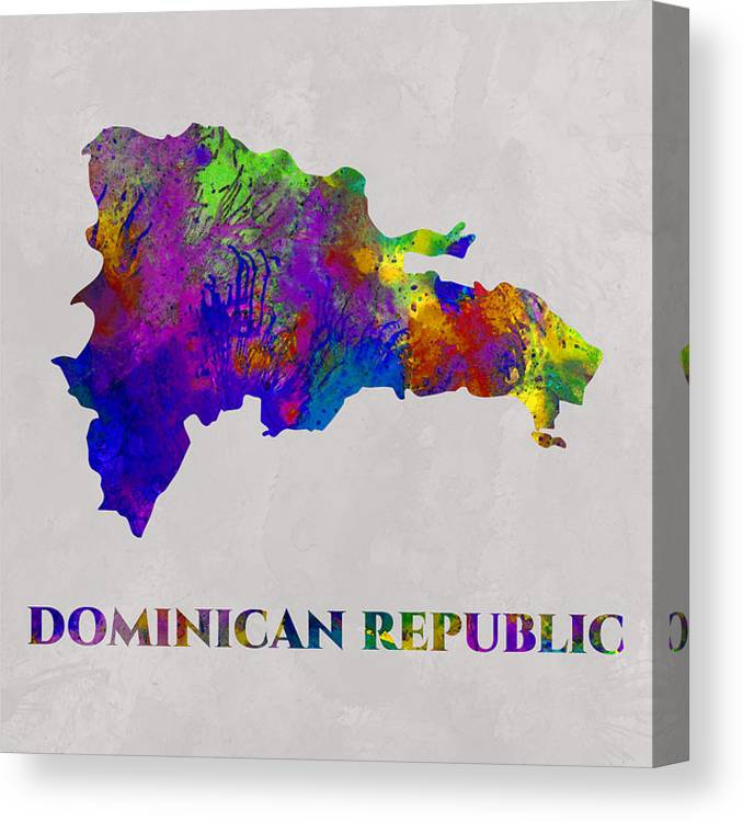 Dominican Republic Canvas Print featuring the photograph Dominican Republic, Art Map, Water Color, Artist Singh by Artist Singh MAPS