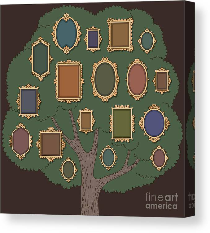 Template Canvas Print featuring the digital art Family Tree With Several Old-fashioned by Reinekke