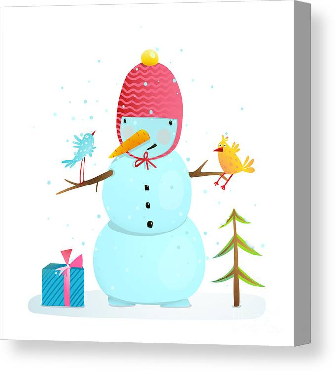 Gift Canvas Print featuring the digital art Funny Snowman With Birds Present And by Popmarleo